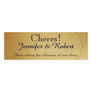 Red Rose on Gold Wedding Drink Tickets Business Card