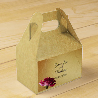 Red Rose on Gold Wedding Favour Box