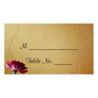 Red Rose on Gold Wedding Place Cards Business Card Templates