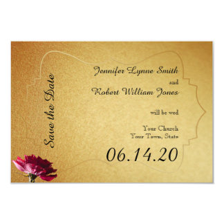 """Red Rose on Gold Wedding Save the Date 3.5"""" X 5"""" Invitation Card"""
