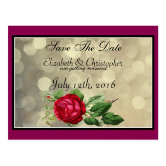 Red Rose on Golden Bokeh Wedding Save The Date Postcard