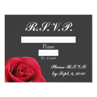 "Red Rose on Grey RSVP card 4.25"" X 5.5"" Invitation Card"