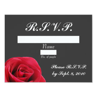 "Red Rose on Grey RSVP card 4.25"" X 5.5"" Invitation Card"