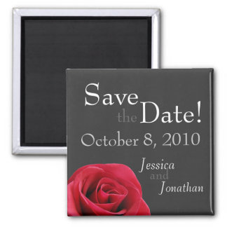 """Red Rose on grey """"Save the Date"""" Magnets"""