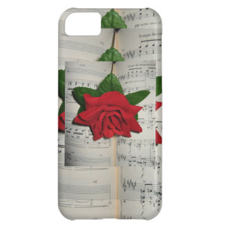 Red Rose on Music Notes Iphone 5S Case Cover For iPhone 5C