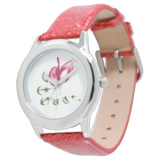Red Rose on Red Glitter Watches