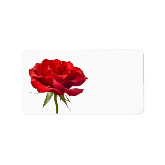 Red Rose on White - Customised Roses Template Label