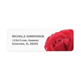 Red Rose on White Return Address Labels