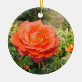 Red Rose ornament, customize Round Ceramic Decoration