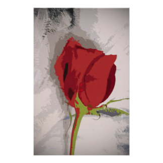 Red Rose Painterly Style Image From Photograph Custom Stationery