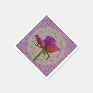 Red rose paper napkin