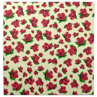 Red Rose Pattern - Cream Serviettes Napkins