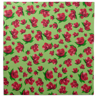 Red Rose Pattern - Green Serviette set Printed Napkins