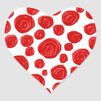 Red Rose Pattern. Heart Sticker