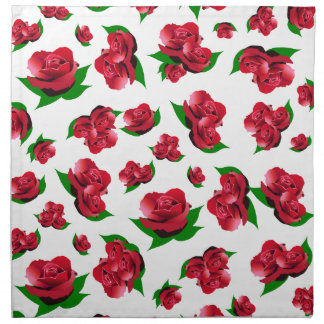 Red Rose Pattern Napkins