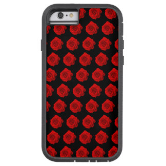 Red Rose Pattern on Black Tough Xtreme iPhone 6 Case