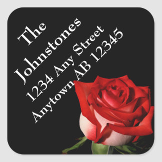 Red Rose Personal Wedding Return Address Label Square Sticker