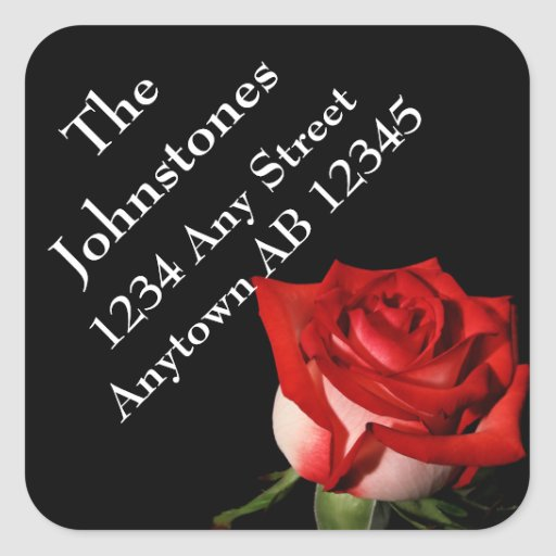 Red Rose Personal Wedding Return Address Square Sticker