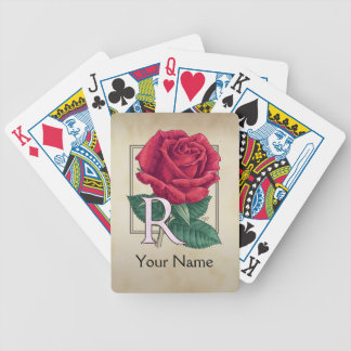 Red Rose Personalized Monogram Bicycle Playing Cards