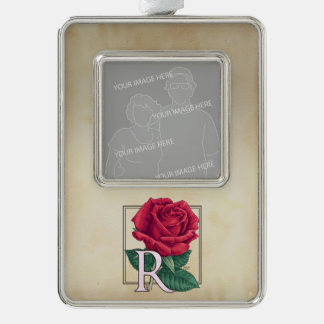 Red Rose Personalized Monogram Silver Plated Framed Ornament
