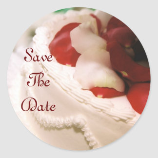 Red Rose Petal Cake Save The Date Sticker