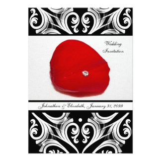 Red Rose Petal Customized Wedding Invitation