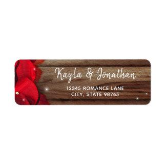 Red Rose Petal Wood Rustic Wedding Return Address Return Address Label