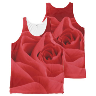 Red Rose Petals All-Over Print Singlet