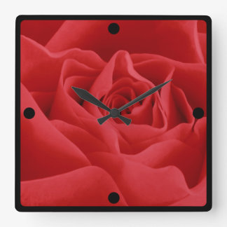 Red Rose Petals Framed Custom Square Wall Clock