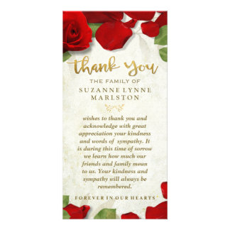 Red Rose Petals Golden Thank You Sympathy Family Customised Photo Card