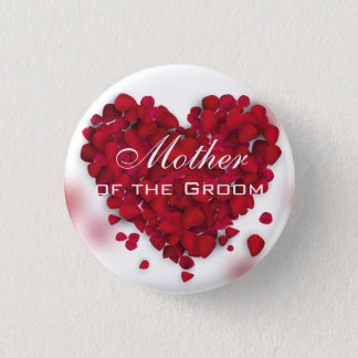 Red Rose Petals Love Heart Mother of the Groom 3 Cm Round Badge