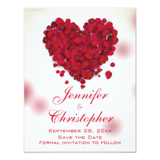 Red Rose Petals Love Heart Save the Date 4.25x5.5 Paper Invitation Card