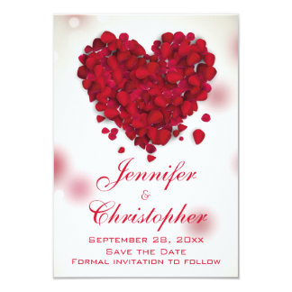 Red Rose Petals Love Heart Save the Date 3.5x5 Paper Invitation Card