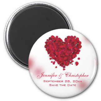 Red Rose Petals Love Heart Save the Date 2 Inch Round Magnet