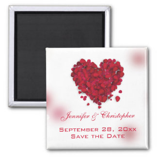Red Rose Petals Love Heart Save the Date Square Magnet