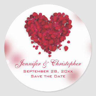 Red Rose Petals Love Heart Save the Date Round Sticker