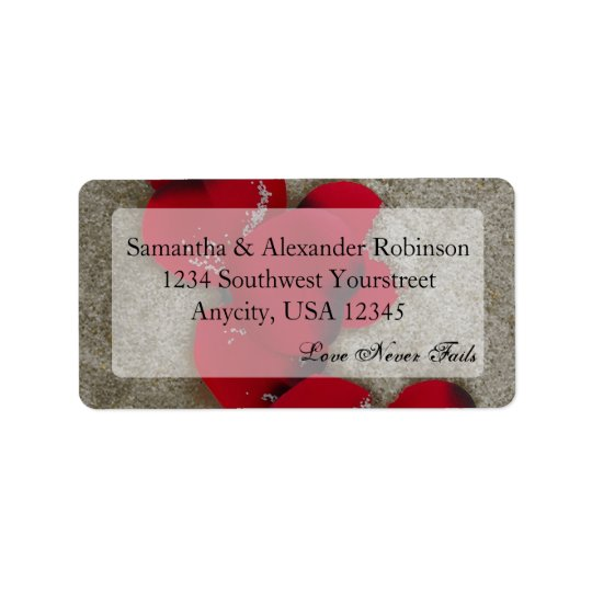 Red Rose Petals on Sand Beach Wedding Address Label