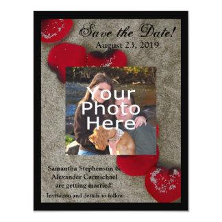 Red Rose Petals on Sand Beach Wedding 11 Cm X 14 Cm Invitation Card