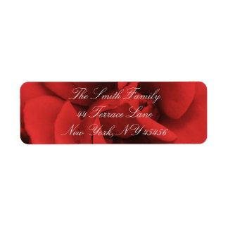 Red Rose Petals Return Address Labels
