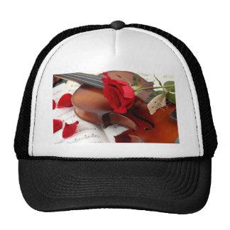 Red Rose Petals Romantic Violin Music Hat