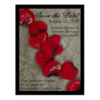 Red Rose Petals Sand Beach Wedding Save the Date Postcard