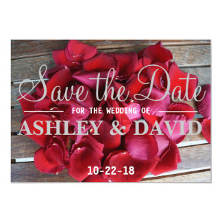 Red Rose Petals Save the Date Card