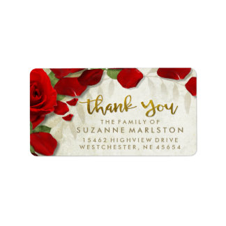Red Rose Petals Thank You Family Address Label