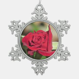 Red Rose Pewter Snowflake Decoration