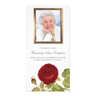 Red Rose & Photo Funeral Thank You Card