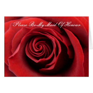Red Rose, Please Be My Maid Of Honour Card