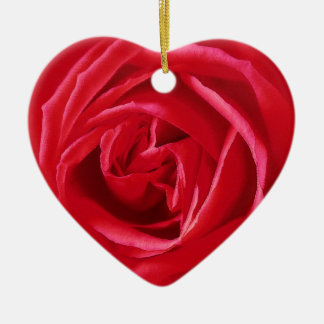 Red rose print ornament