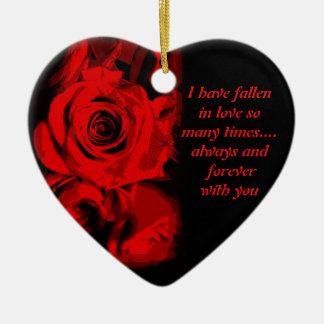 Red Rose Print Valentine Keepsake Ornament