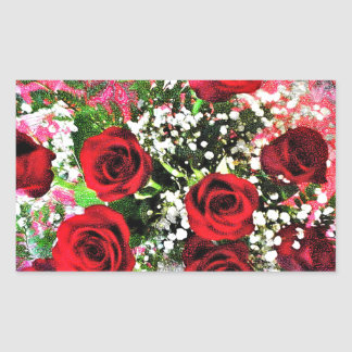 Red Rose Radiance Rectangular Sticker