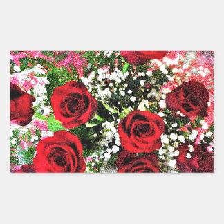 Red Rose Radiance Rectangular Sticker